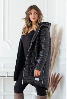czarna długa pikowana kurtka plus size