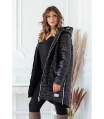 Czarna długa jesienna kurtka pikowana z kapturem - Scarlett 2XL-5XL