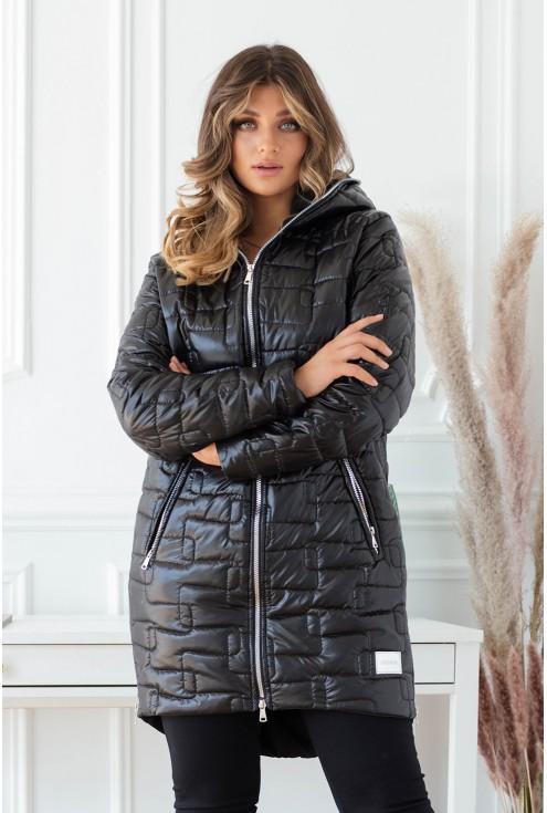 czarna kurtka plus size zapinana na suwak duże rozmiary
