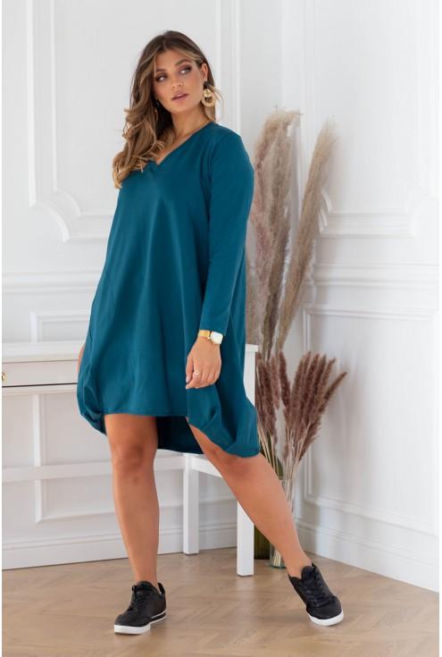 Dresowa sukienka xxl w morskim kolorze