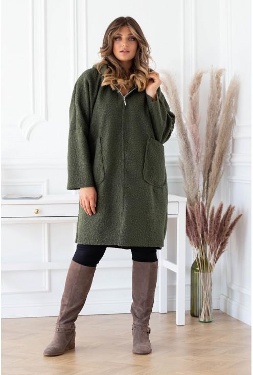 Oversizowy płaszcz khaki z kapturem i kieszeniami plus size