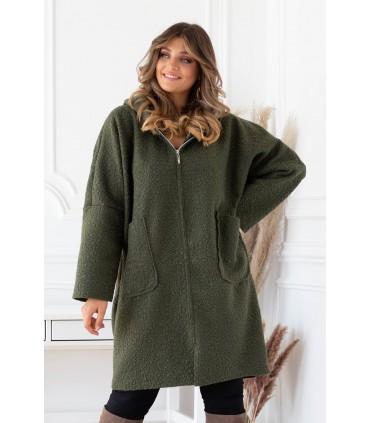 Khaki jesienny płaszcz zapinany na suwak z kapturem - LINDY
