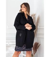 Czarny elegancki płaszczyk z długim rękawem - DELLA