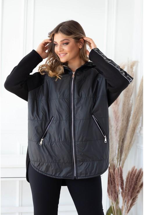 czarna bluzo-kurtka z kapturem duże rozmiary