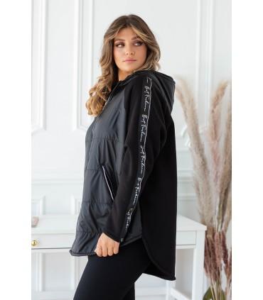 Czarna bluza-kurtka z kapturem z lampasem - OSSIE