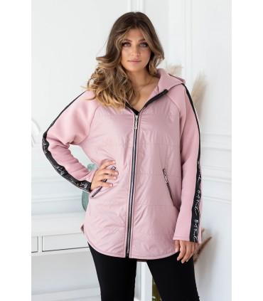 Różowa bluza-kurtka z kapturem z lampasem - OSSIE