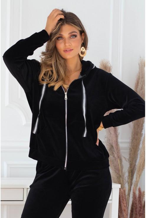 czarny welurowy dres plus size