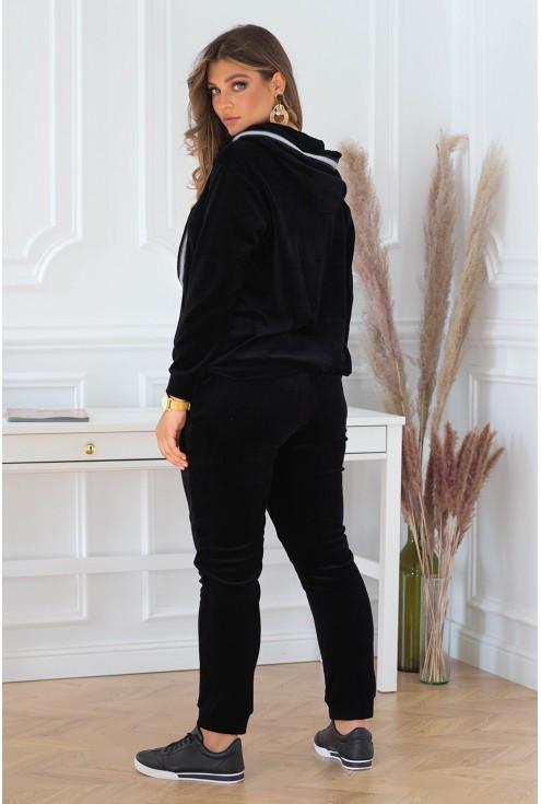 Czarny welurowy dres z rozpinaną bluzą - zestaw - CARLIS