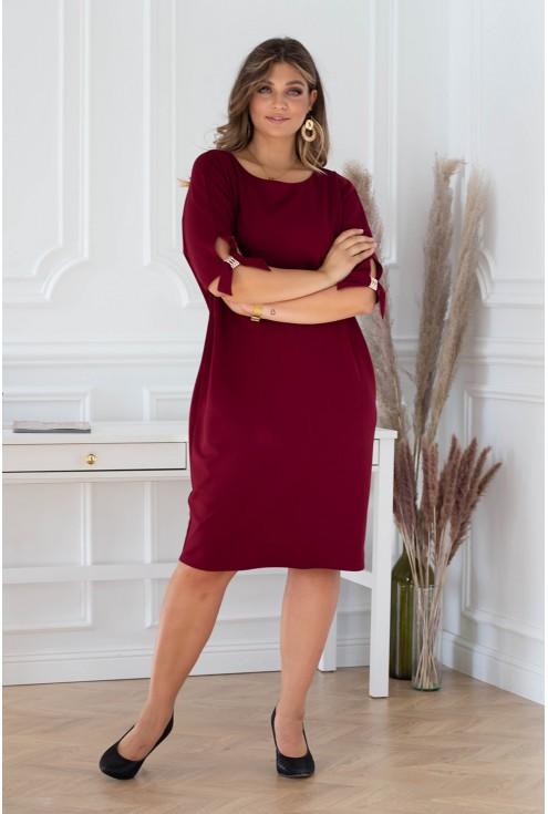 szykowna sukienka w kolorze wiśniowym - duże rozmiary