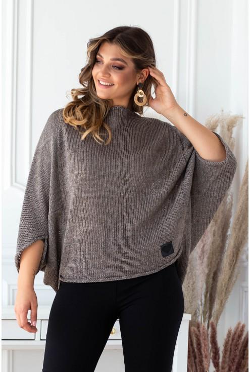 brązowy sweter z obniżoną linią ramion plus size