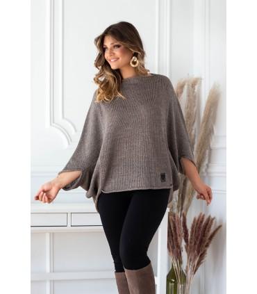 Brązowy sweterek z obniżoną linią ramion - Camila
