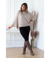 Beżowy sweterek z obniżoną linią ramion - Camila