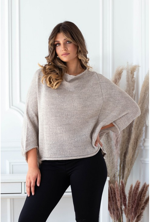 beżowy sweter z obniżoną linią ramion xxl