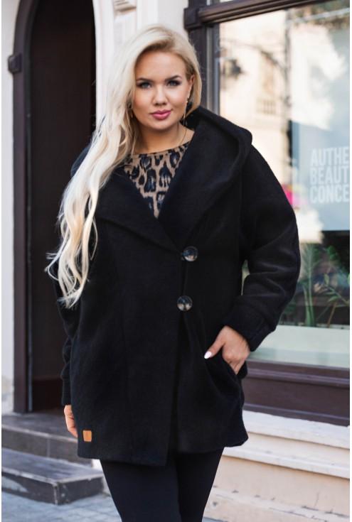 czarny płaszczyk size plus xxl