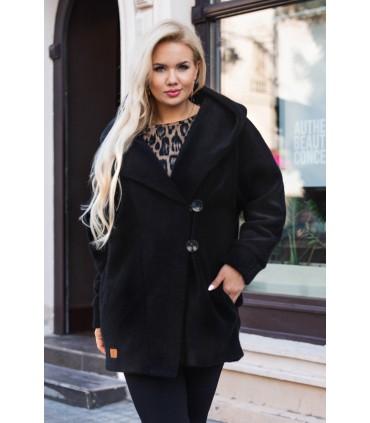 Czarny płaszcz z kapturem - LIVIEN