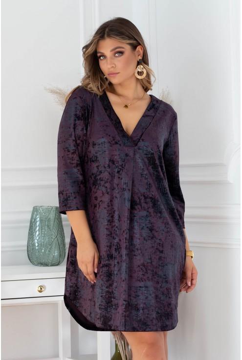 śliwkowa sukienka z dekoltem V