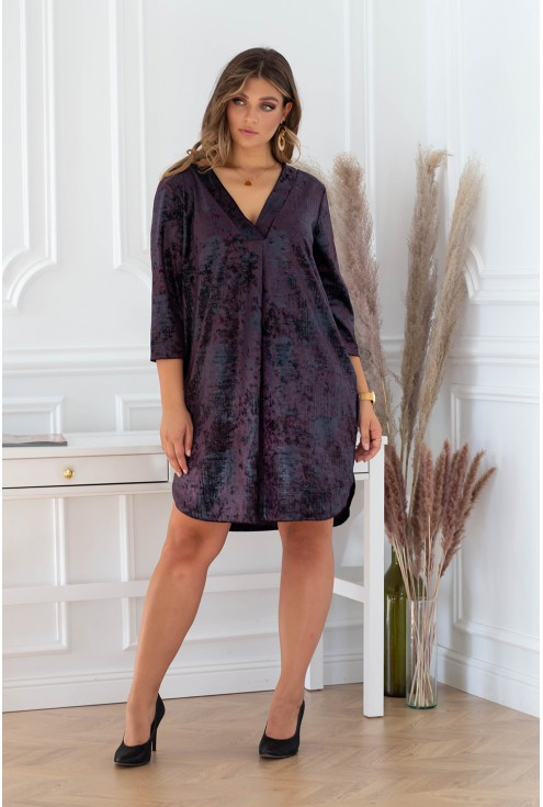 śliwkowa aksamitna sukienka xxl