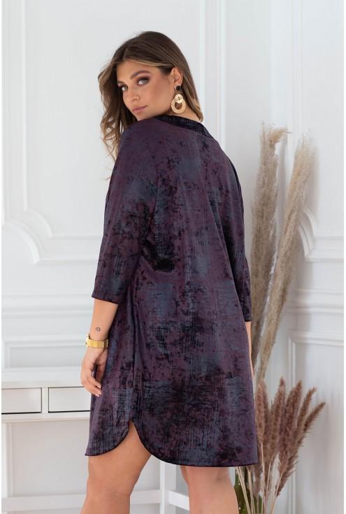 Śliwkowa sukienka Chiara - prasowany welur