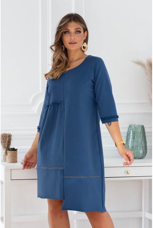 rozkloszowana sukienka niebieska xxl