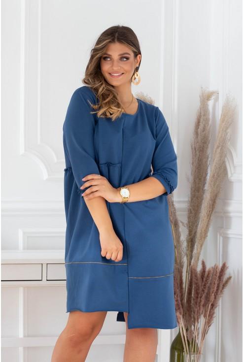 niebieska rozkloszowana sukienka plus size