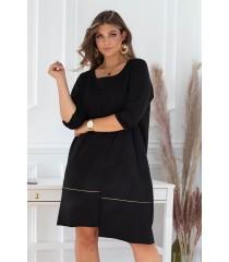 Czarna sukienka z ozdobną falbanką - ALEXI