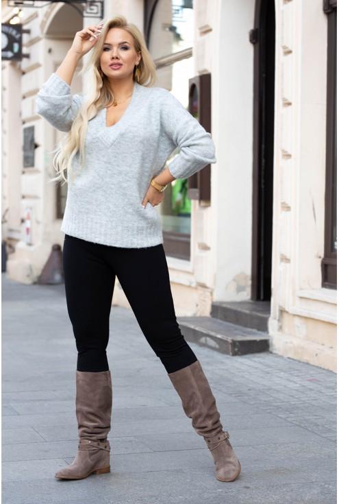 Szary sweter z drobnym splotem - Kristin