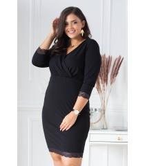 Czarna sukienka z ozdobną koronką - LISHA