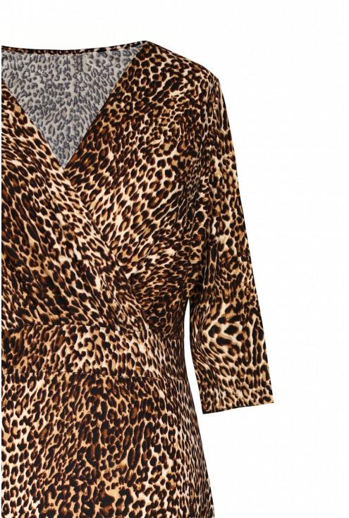 Sukienka z wzorem w panterkę plus size