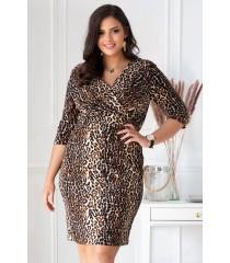 Ołówkowa sukienka z wzorem w panterkę - LISHA