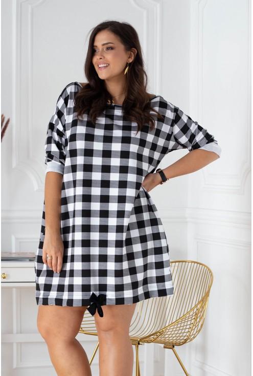 czarno-biała sukienka w kratę xxl