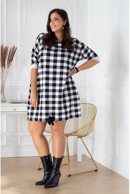 biało-czarna tuniko-sukienka