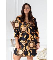 Czarna sukienka w złoty wzór - CHIARA