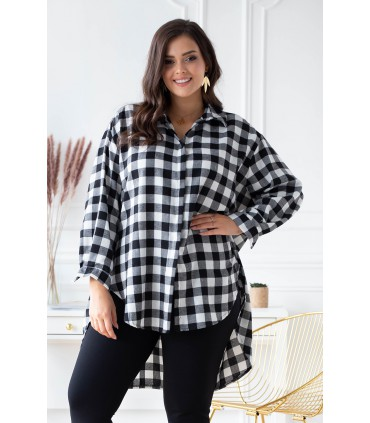 Koszula/tunika w czarno- białą kratę - Nicky