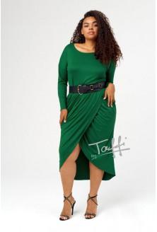 Zielona przekładana sukienka z marszczeniem