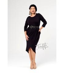 Czarna sukienka przekładana z marszczeniem - TERRA