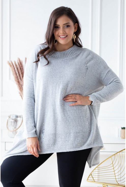 jasnoszary sweter plus size
