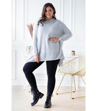Jasnoszary sweterek z przetarciami i ćwiekami - MERLIN
