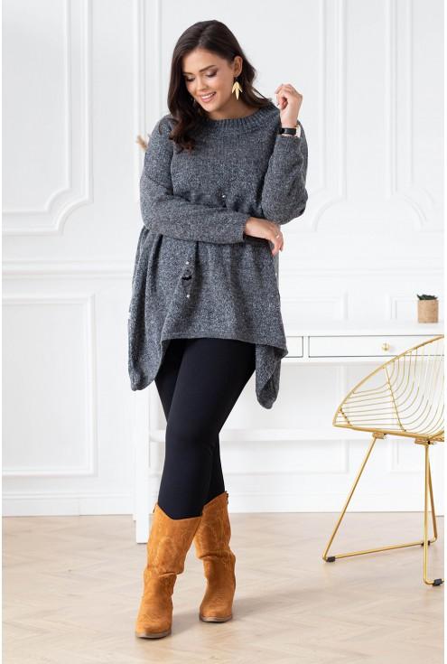 Szary melanż sweterek z przetarciami i ćwiekami - MERLIN