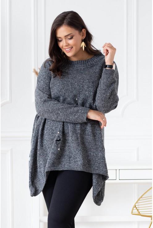szary melanż sweterek xxl