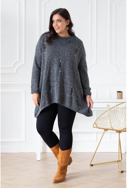 szary melanż sweterek plus size