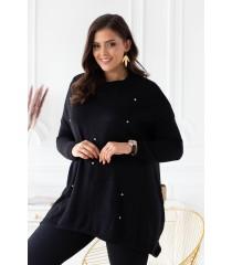 Czarny sweterek z przetarciami i ćwiekami - MERLIN