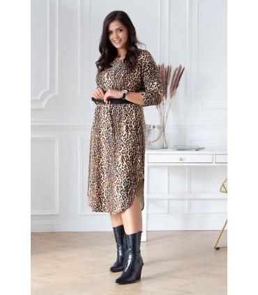 Długa sukienka z wzorem w panterkę - CELIN