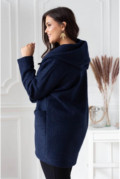 Granatowy płaszcz oversize z kapturem TIFFANY