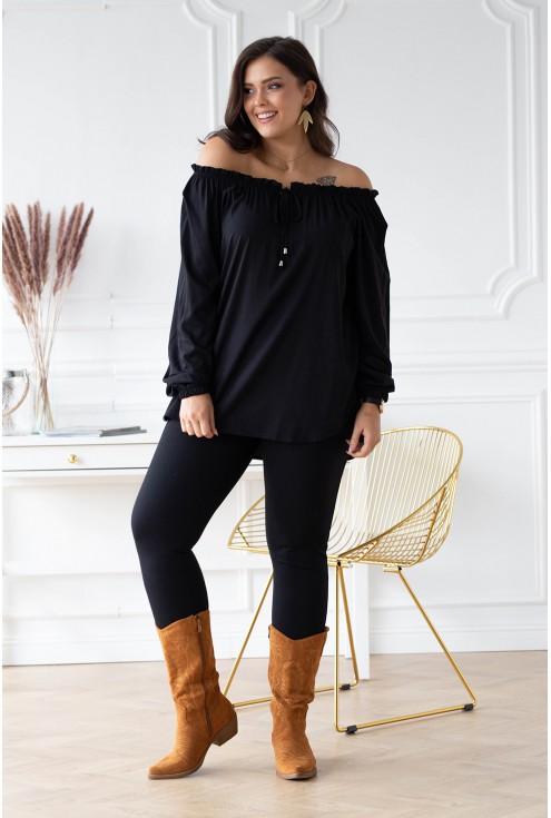 czarna bluzka plus size violet z wiązaniem xxl