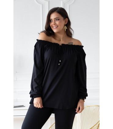 Czarna bluzka z wiązaniem na dekolcie - VIOLET