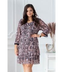 Pudrowa sukienka/tunika z wzorem w panterkę - NAOMI