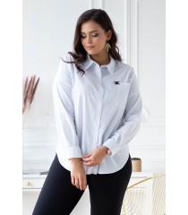 Klasyczna biała koszula z czarną ozdobą - FRANCIE
