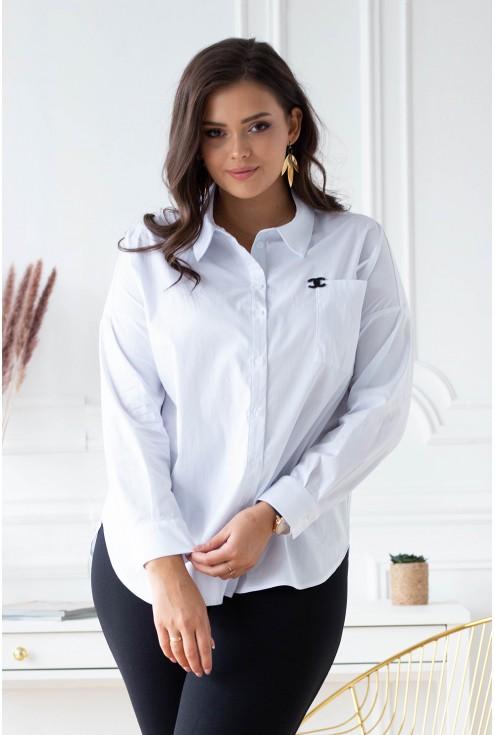 biała koszula z czarną ozdobą dla kobiet plus size xxl