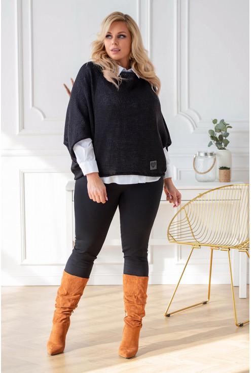 Czarny sweter z obniżoną linią ramion xxl