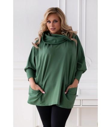 Zielona bluza z golfem z kieszeniami - CATRICE